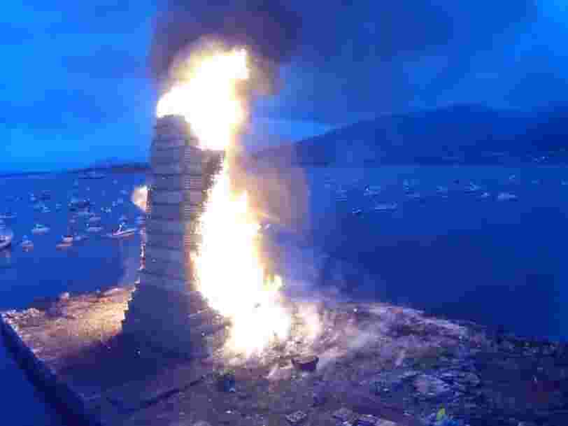 In Norway, people celebrate the summer solstice with this enormous bonfire festival