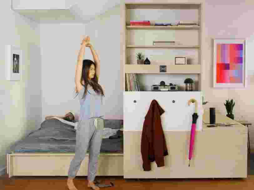 This shape-shifting furniture system transforms a tiny room into a spacious apartment