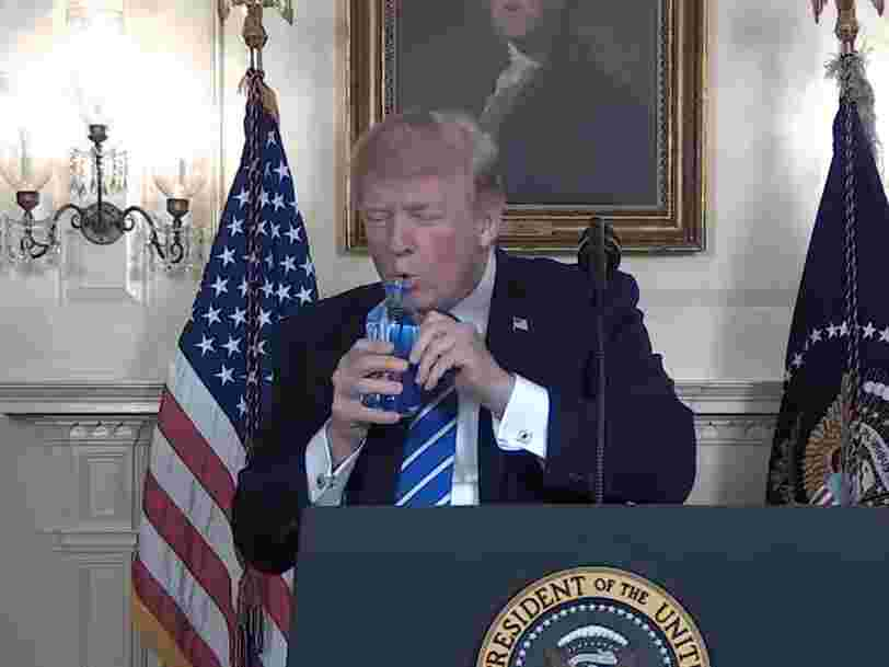 People are freaking out about Trump drinking Fiji Water mid-speech — and the water brand hasn't responded yet