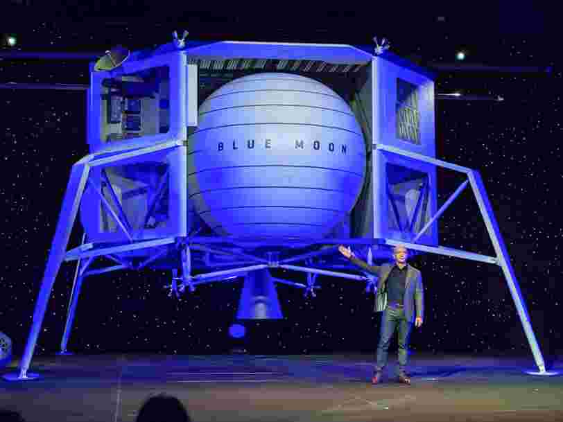 Jeff Bezos unveils a giant lunar lander that he says is 'going to the moon' and will help Blue Origin populate space