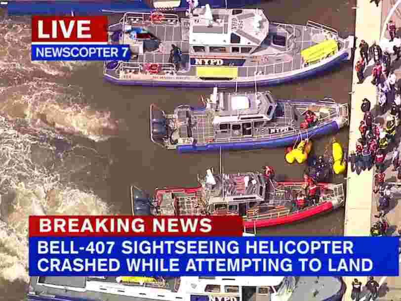 A helicopter crashed into the Hudson River in New York City
