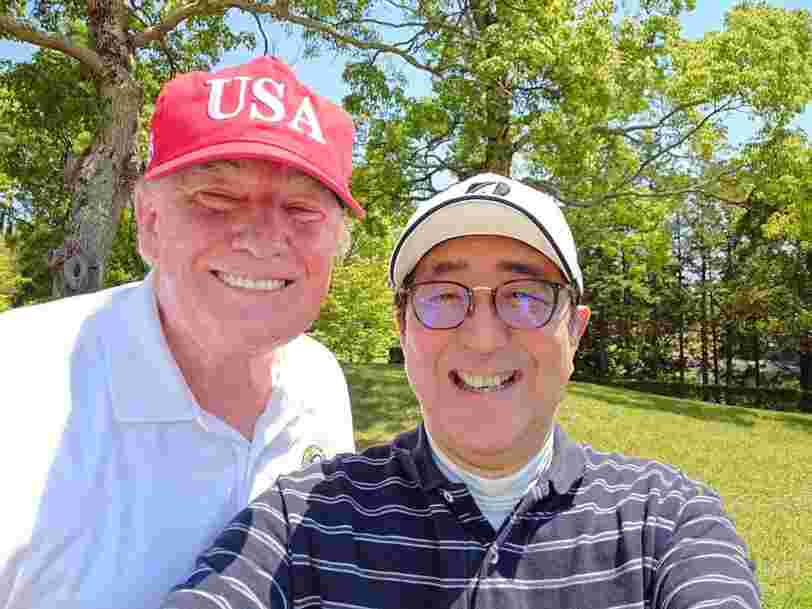 Trump and Japanese Prime Minister Abe took a smiling golf course selfie during the president's flying visit to Asia