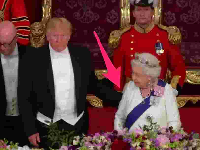 Trump appeared to touch the queen's back during dinner, which is a major violation of royal protocol