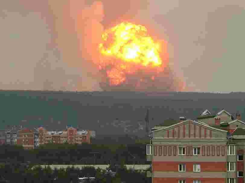 Shocking photos show massive fireball caused by explosion at Russian ammo dump said to house tens of thousands of artillery shells