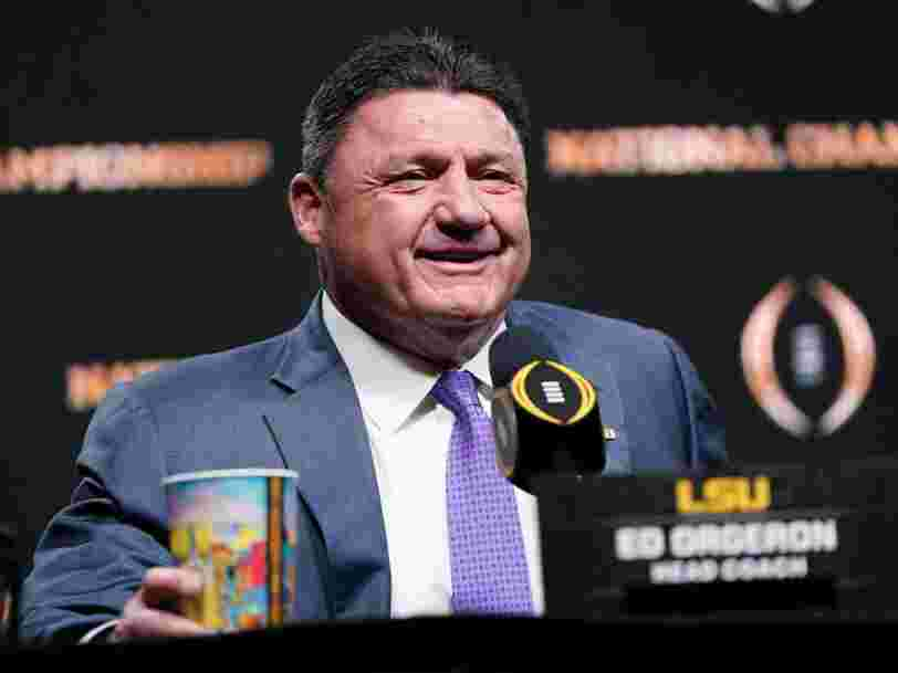 LSU's Ed Orgeron said he was going to celebrate the national championship by eating a ham sandwich, going home, and beginning recruiting