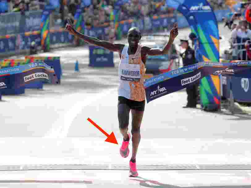 A controversial Nike sneaker worn by 2 record-breaking marathon champions is at risk of being banned. A decision may come within weeks.