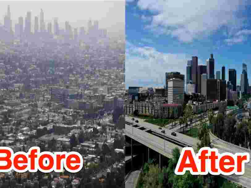 Before and after photos show how stay-at-home orders helped Los Angeles significantly reduce its notorious smog