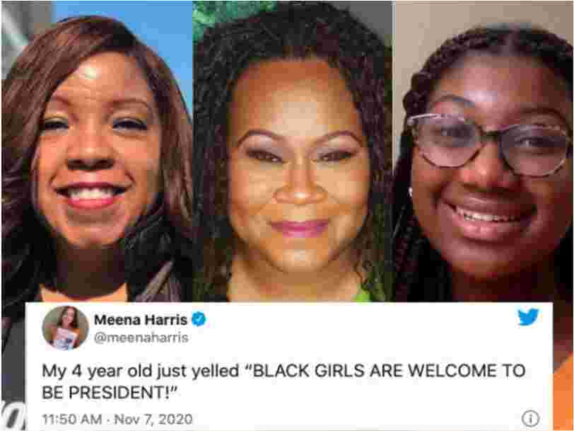 Black women and girls cry and cheer over a historic victory for Vice President-elect Kamala Harris