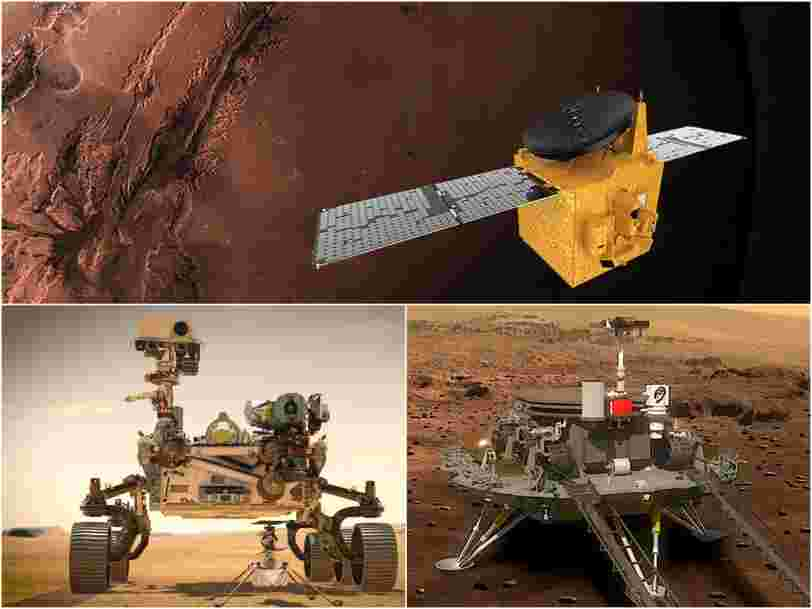 3 spacecraft are set to reach Mars this month, from NASA, China, and the UAE. Here's what they aim to learn.