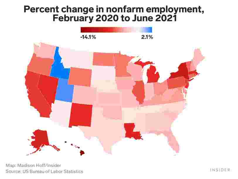 Some Republican states that cut federal unemployment benefits early are recovering more quickly