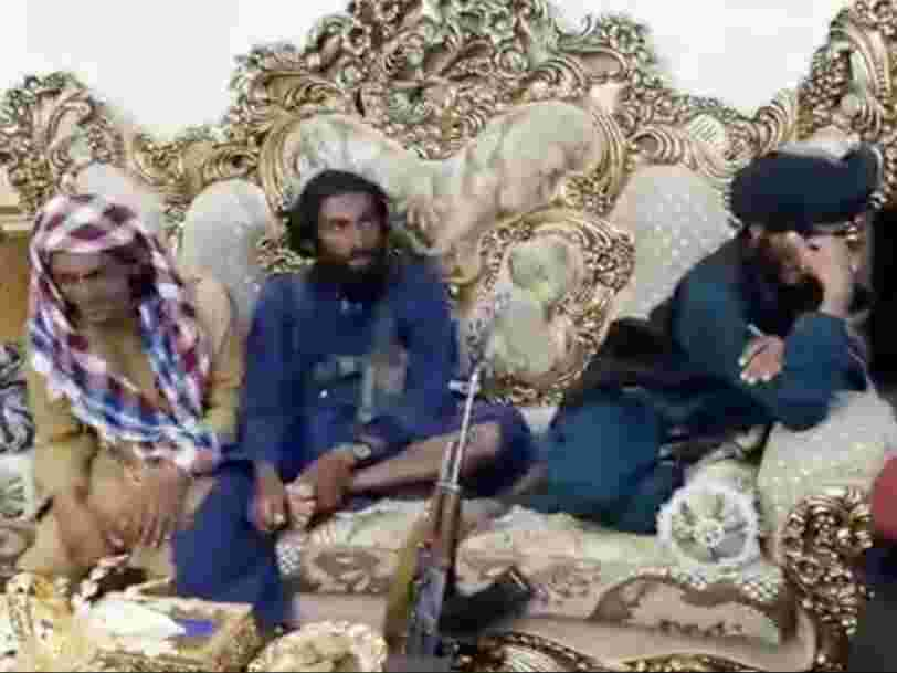 Videos show Taliban fighters capture the opulent palace of a US-allied warlord, ransacking property and drinking from gold tea set