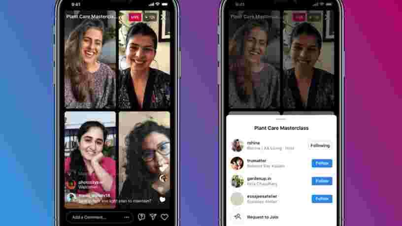 Instagram permet désormais de réaliser des lives à 4 personnes