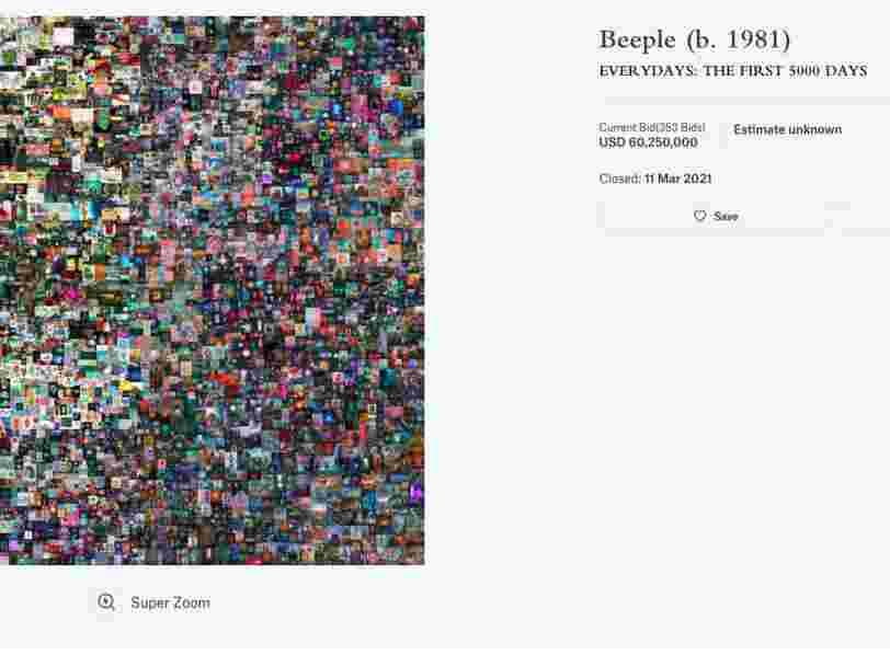 Une oeuvre d'art crypto vendue 69,3 millions de dollars aux enchères, un record