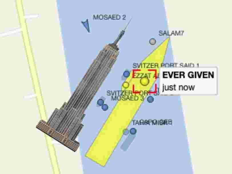 Le porte-conteneur qui bloque le canal de Suez est encore plus grand que l'Empire State Building
