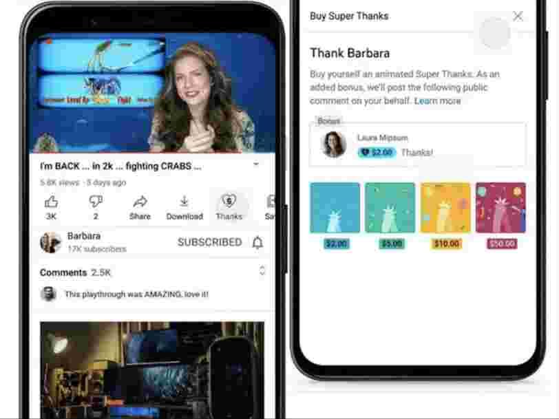 YouTube lance Super Thanks, une fonction qui permet aux fans de donner de l'argent aux créateurs
