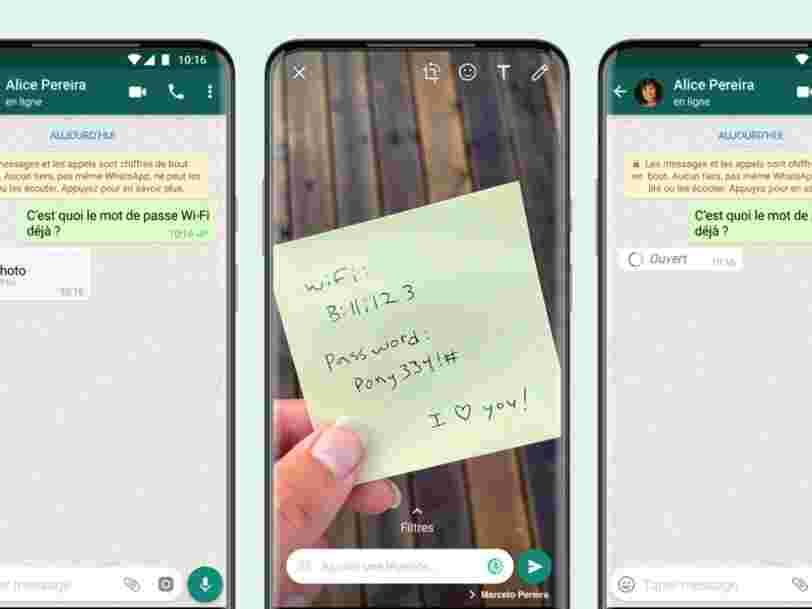 Vous pouvez désormais envoyer des photos éphémères avec WhatsApp
