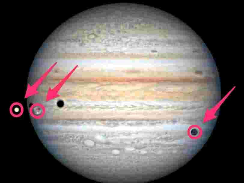 Cette étonnante vidéo montre une rare triple éclipse de Jupiter
