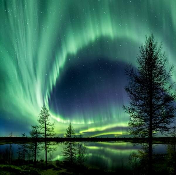 Une aurore boréale éclaire la toundra sibérienne