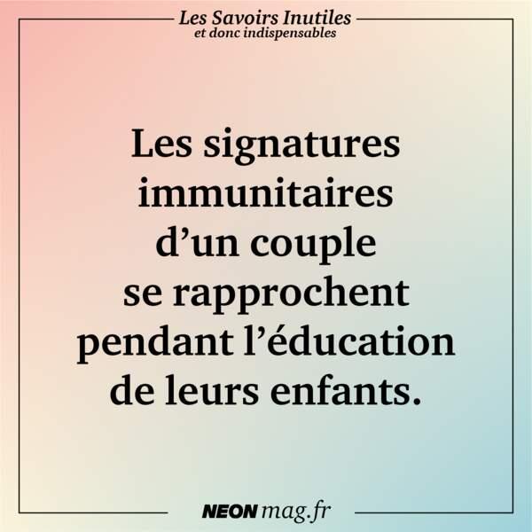 Les signatures immunitaires d'un couple se rapprochent pendant l'éducation de leurs enfants
