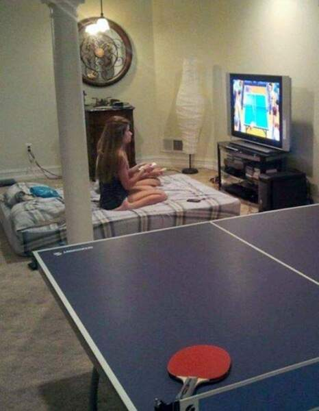 Wii : 1 - Vraie table de ping pong : 0