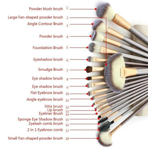 Un kit de 18 pinceaux à maquillage