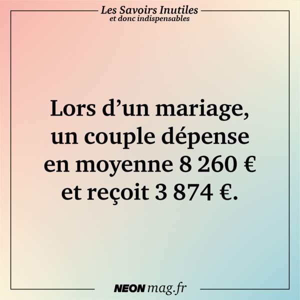 Lors d'un mariage, un couple dépense en moyenne 8260 € et reçoit 3874 €