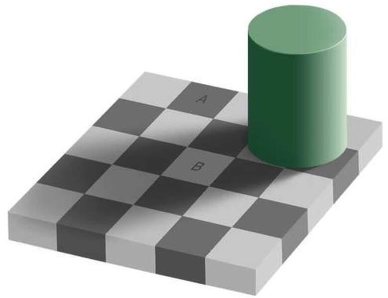 Les deux cases A et B vous semblent de couleurs différentes ?