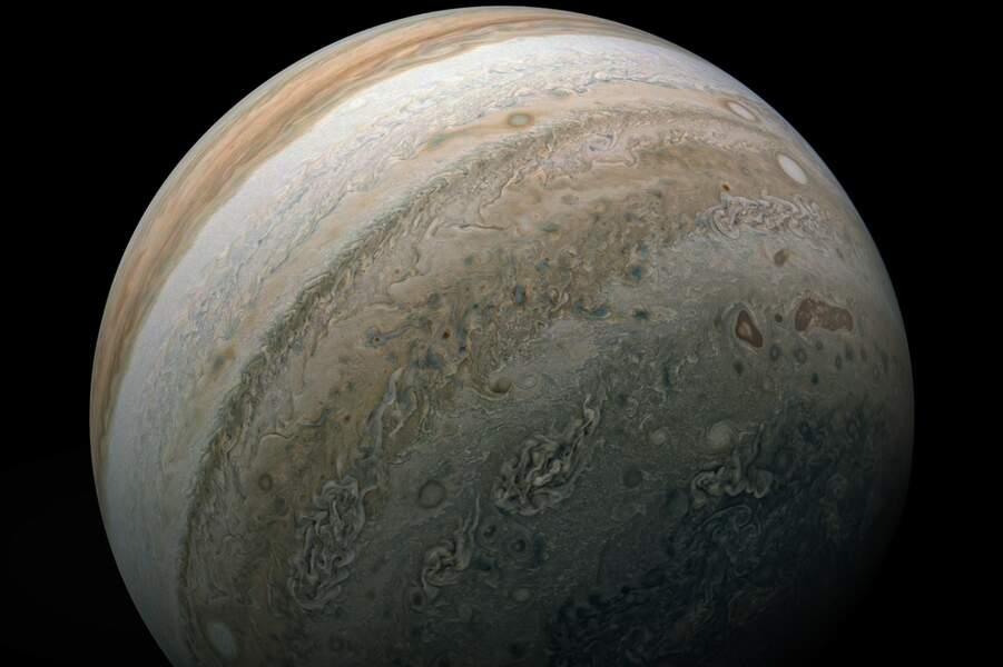 Un cliché, pris le 17 février 2020, de l'hémisphère sud de la planète Jupiter.