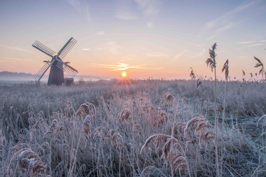 Lever du soleil glacial à Herringfleet en Angleterre