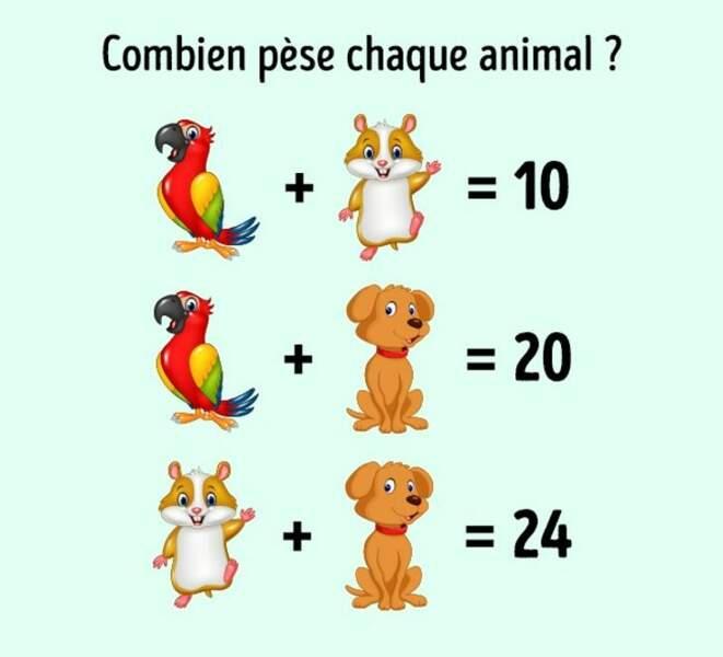 Combien pèse chaque animal ?