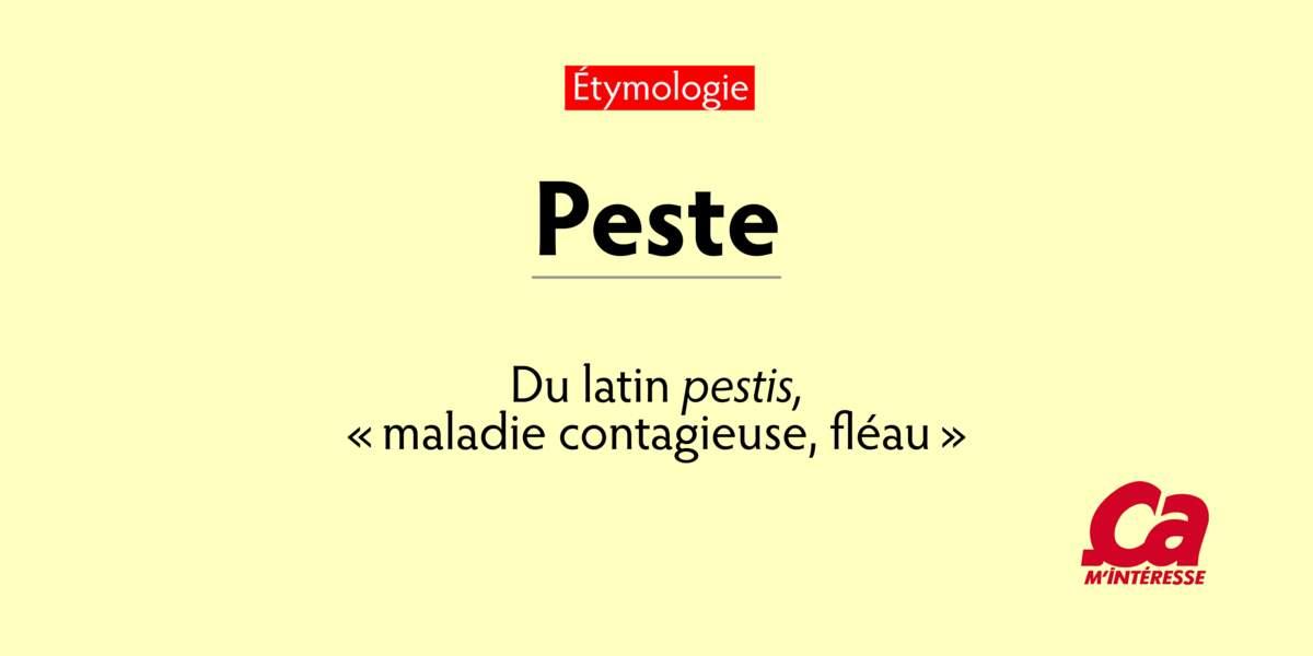 "Peste, du latin pestis, ""maladie contagieuse, fléau"""