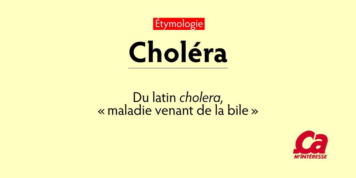 """Choléra, du latin cholera, """"maladie venant de la bile"""""""