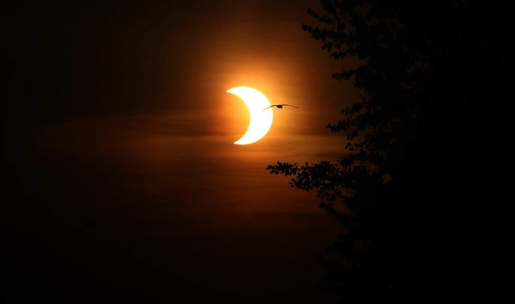 Le soleil se lève à Toronto au Canada, au moment où le soleil est couvert à 80 % par la Lune.