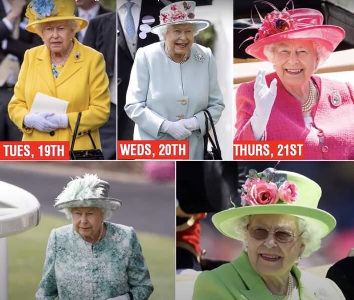 La Reine porte des couleurs vives pour qu'on la remarque
