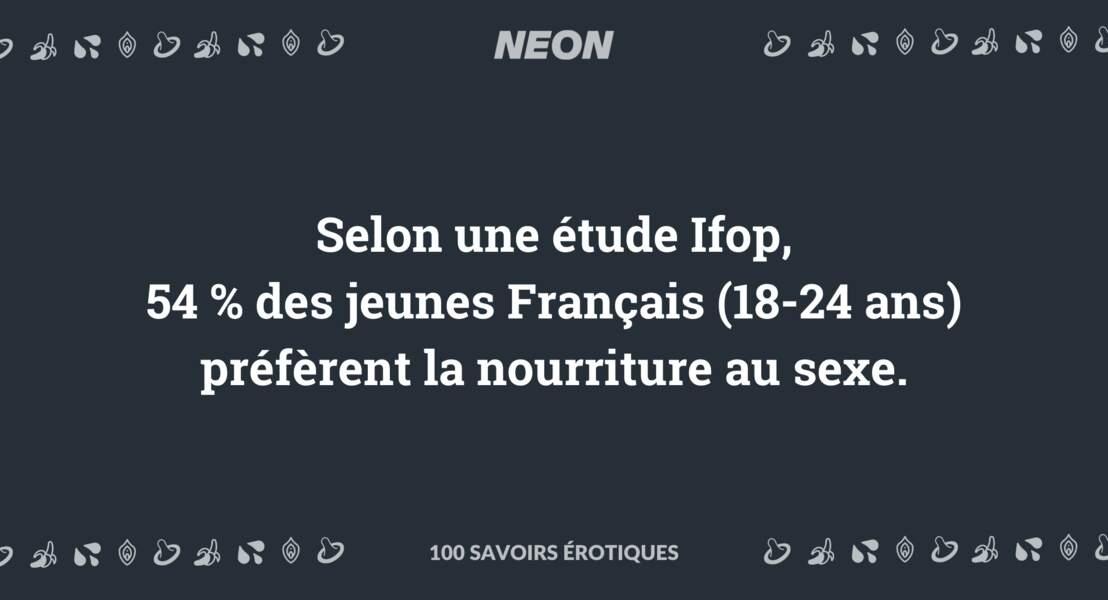 Selon une étude Ifop, 54 % des jeunes Français (18-24 ans) préfèrent la nourriture au sexe.