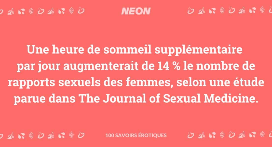 Une heure de sommeil supplémentaire par jour augmenterait de 14 % le nombre de rapports sexuels des femmes, selon une étude parue dans The Journal of Sexual Medicine.