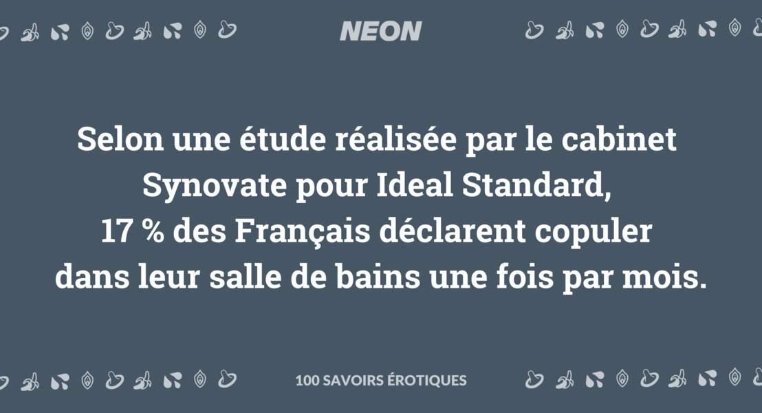 Selon une étude réalisée par le cabinet Synovate pour Ideal Standard, 17 % des Français déclarent copuler dans leur salle de bains une fois par mois.