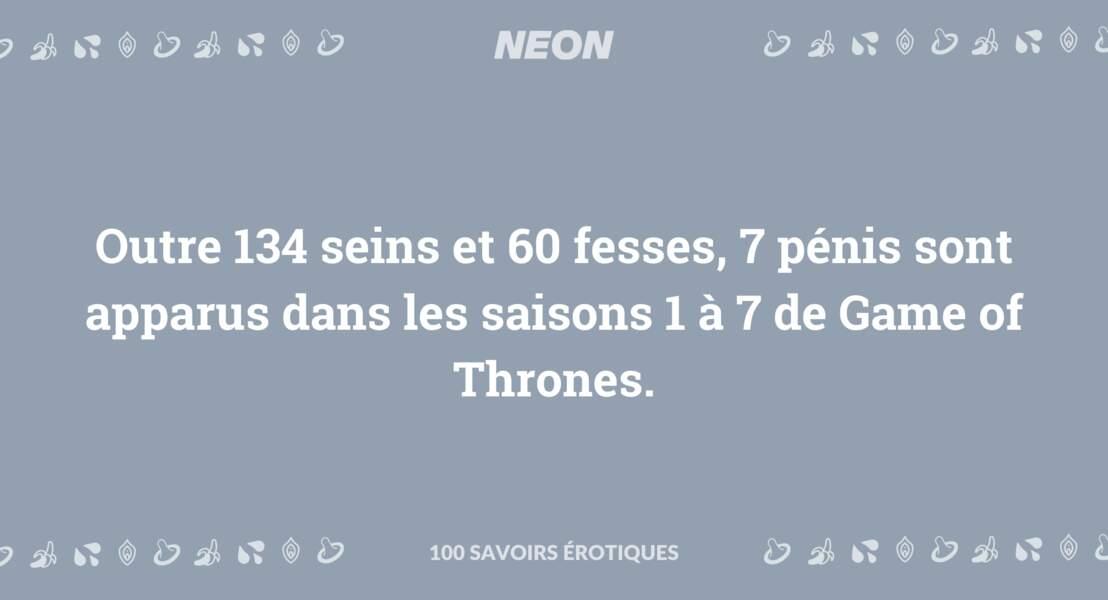 Outre 134 seins et 60 fesses, 7 pénis sont apparus dans les saisons 1 à 7 de Game of Thrones.