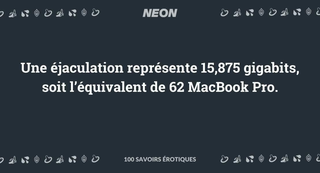Une éjaculation représente 15,875 gigabits, soit l'équivalent de 62 MacBook Pro.