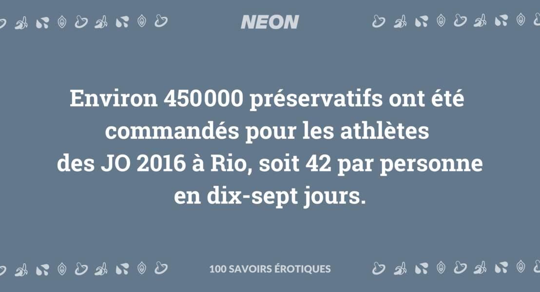 Environ 450000 préservatifs ont été commandés pour les athlètes des JO 2016 à Rio, soit 42 par personne en dix-sept jours.