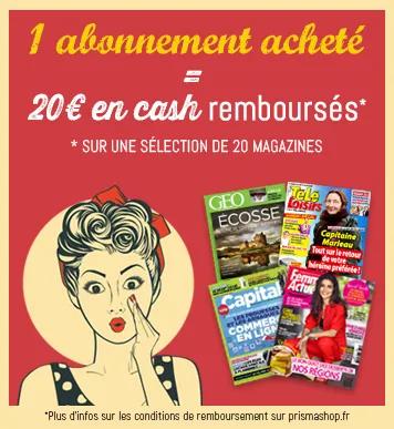 1 ABONNEMENT ACHETÉ =  20€ REMBOURSÉS EN CASH